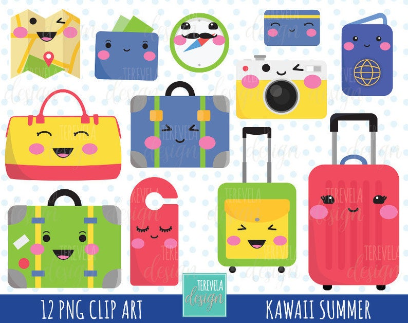 sale kawaii travel. Luggage clipart cute