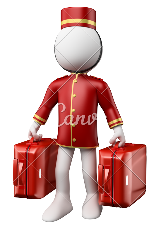 d bellhop with. Luggage clipart hotel porter