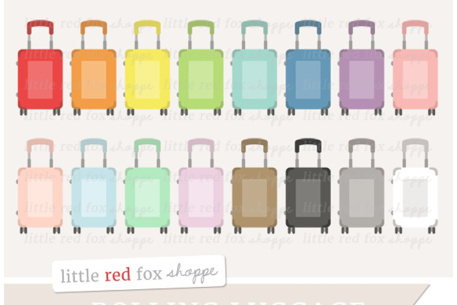 Luggage clipart illustration. Rolling