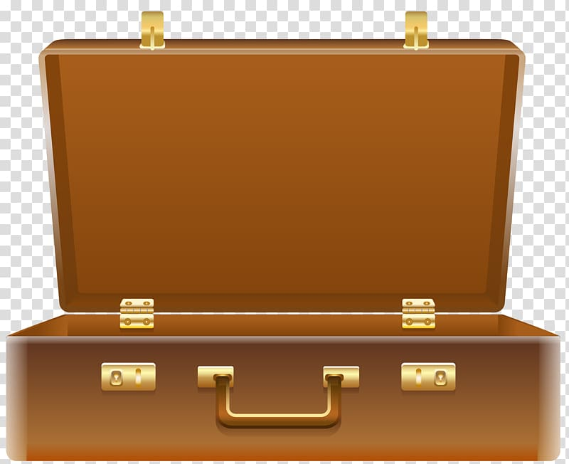 Rectangular brown illustration briefcase. Luggage clipart opened suitcase