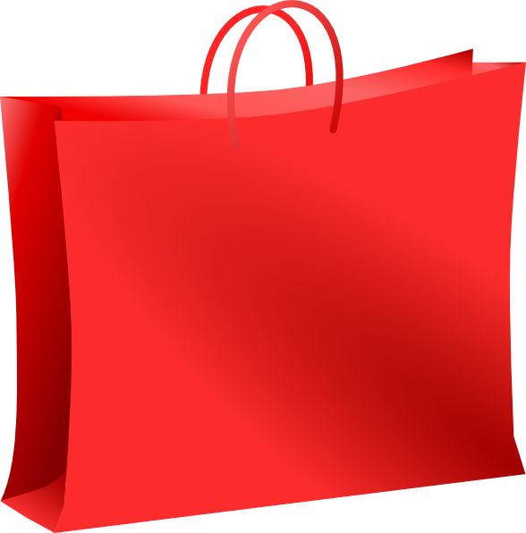 Red bag for shopping. Luggage clipart orange