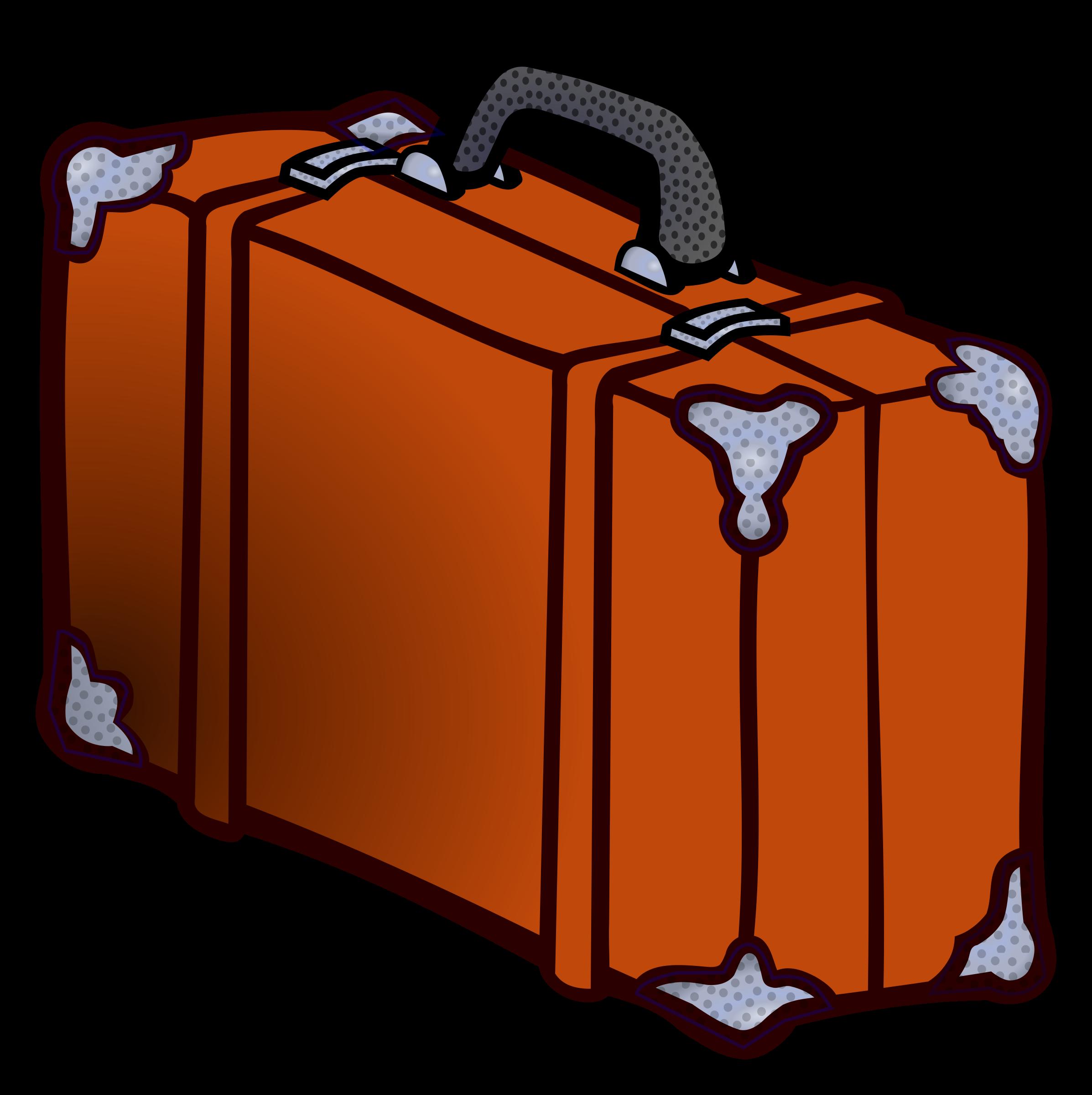 Suitcase coloured big image. Luggage clipart orange