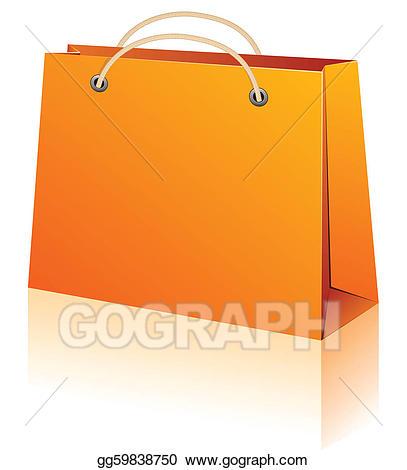Luggage clipart orange. Eps illustration shopping bag
