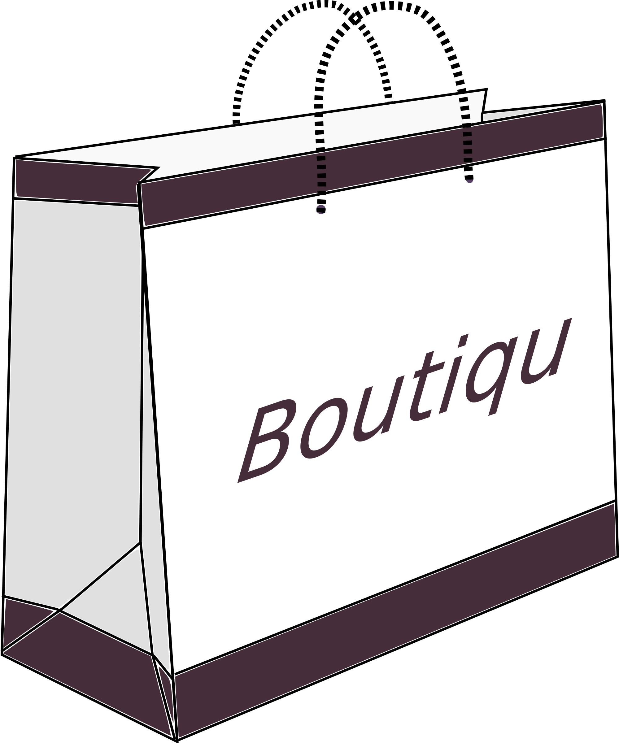 Boutique shopping bag big. Luggage clipart outline