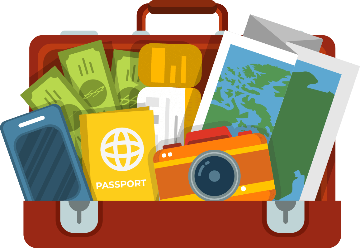 Student backpacker easy study. Luggage clipart passport