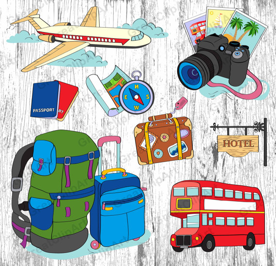 traveling. Luggage clipart passport