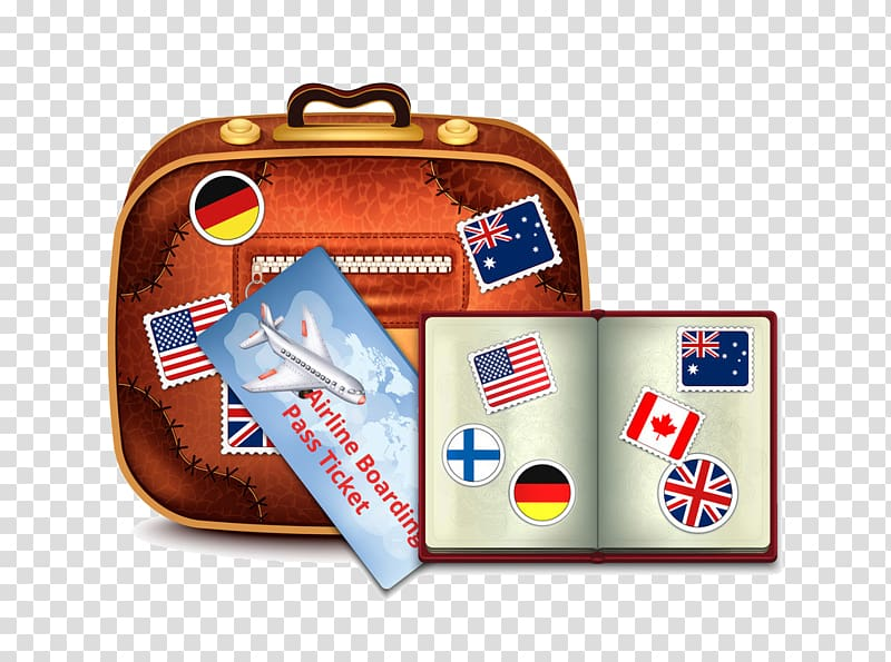 Stamp suitcase baggage notebook. Luggage clipart passport