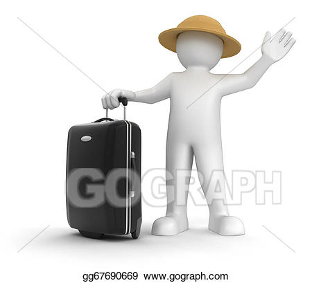 Stock illustration man and. Luggage clipart person