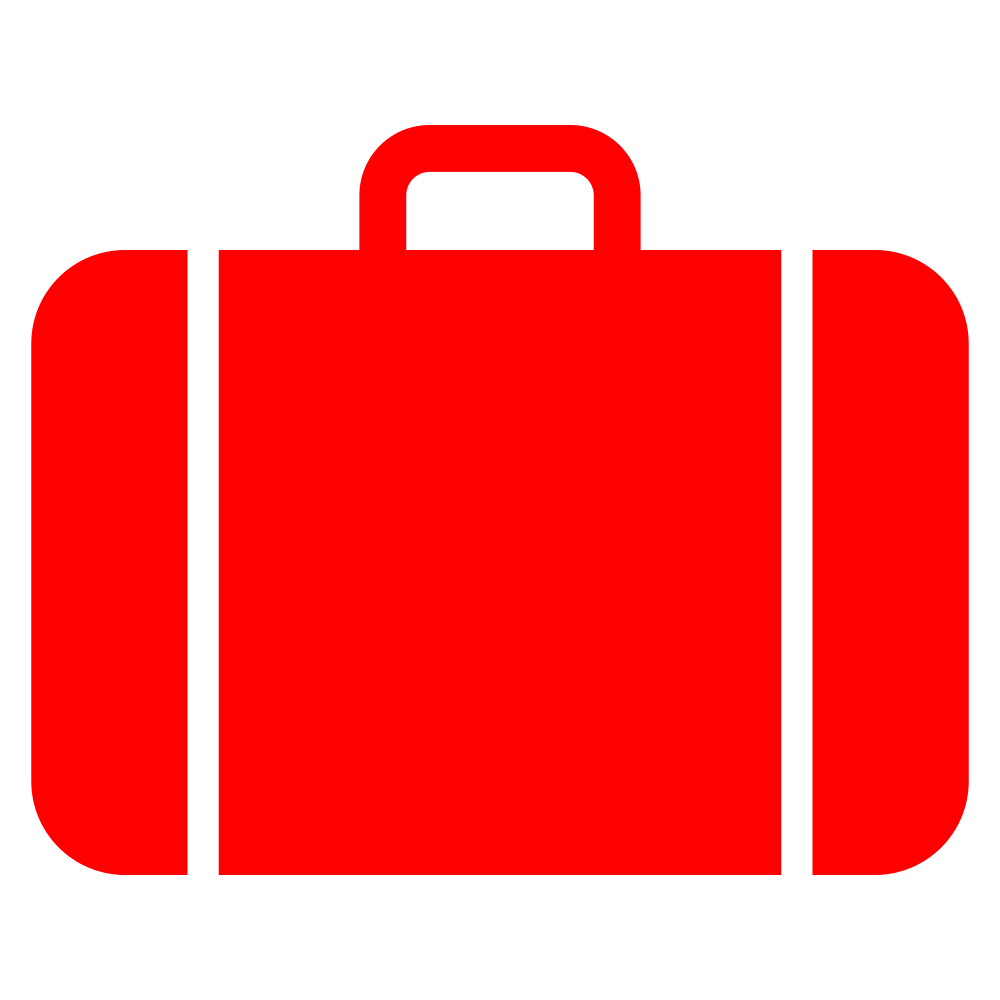 File suitcase icon red. Luggage clipart person