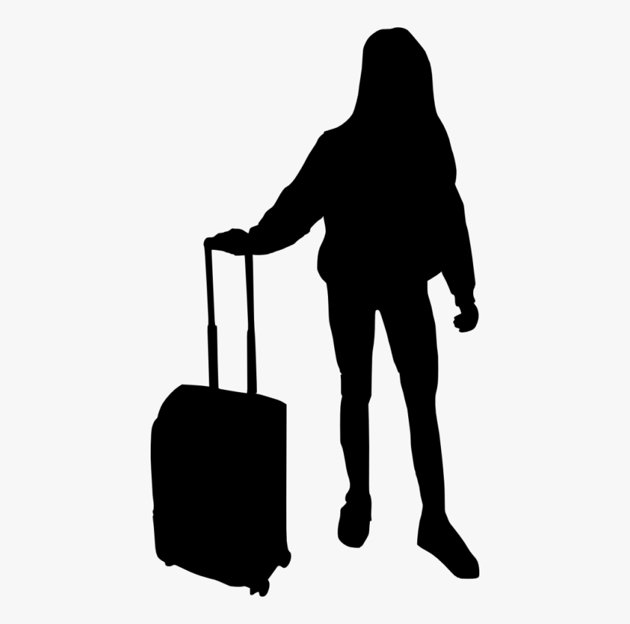 Suitcase silhouette people with. Luggage clipart person