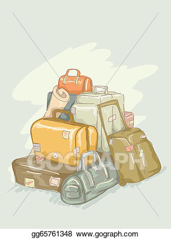 Eps illustration vector gg. Luggage clipart pile