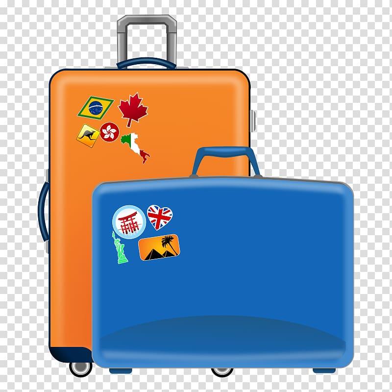 Blue and orange travel. Luggage clipart pile