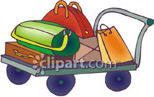 Luggage clipart pile. A of on cart