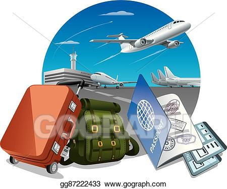 Eps illustration travel by. Luggage clipart plane luggage