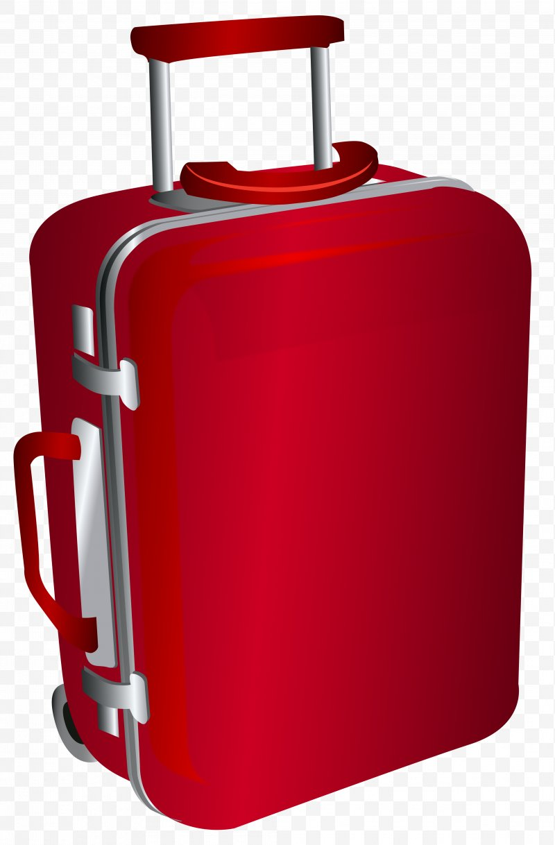 Travel bag suitcase backpack. Luggage clipart red