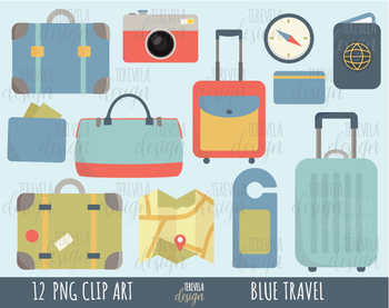 Travel bag passport map. Luggage clipart scrapbook