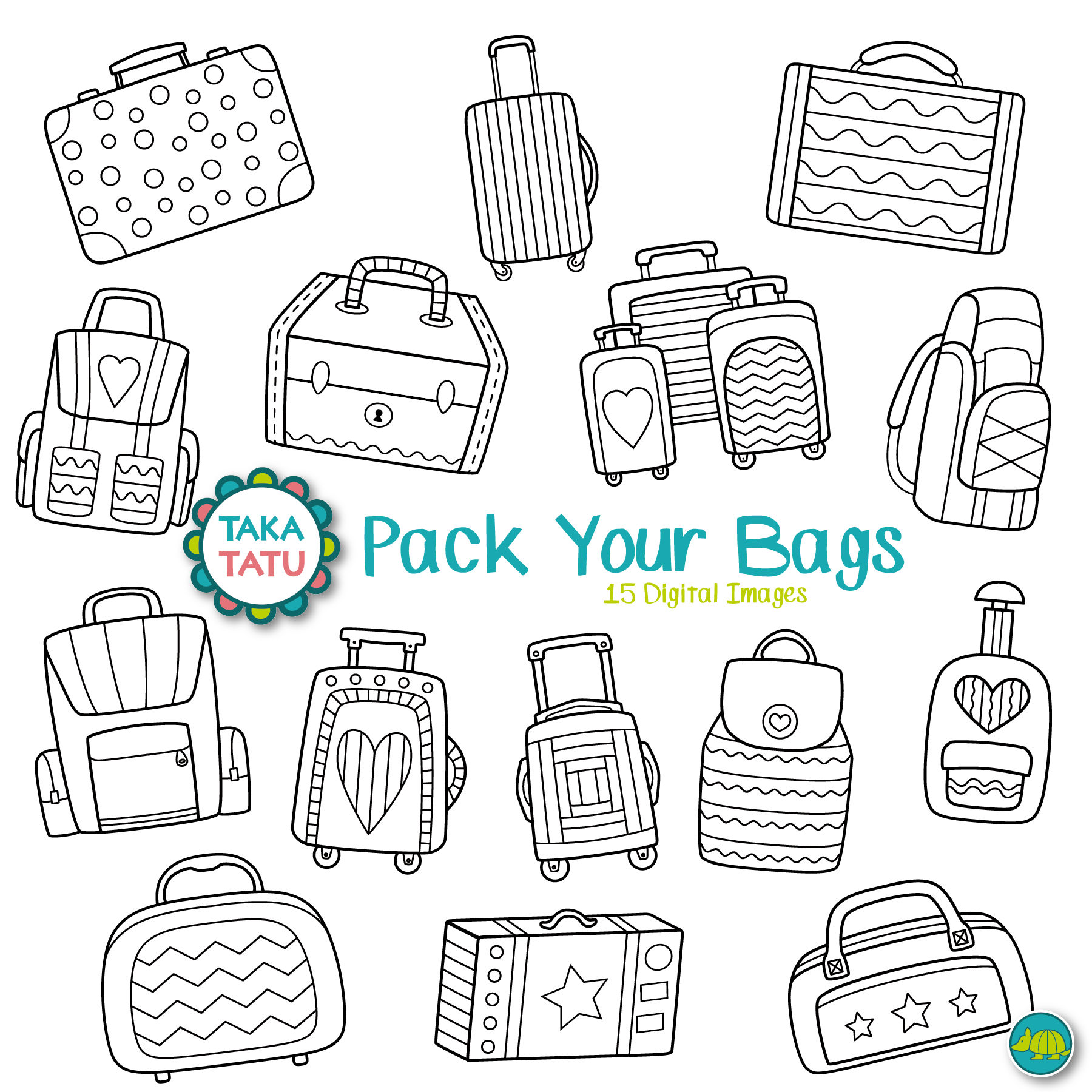 Suitcases digital pack vacation. Luggage clipart stamp