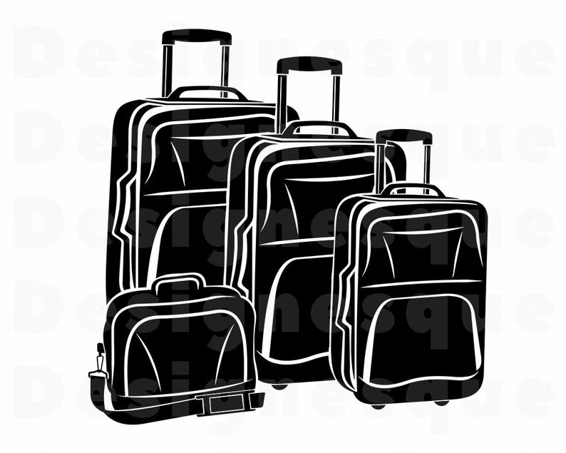 Suitcase vacation travel files. Luggage clipart svg