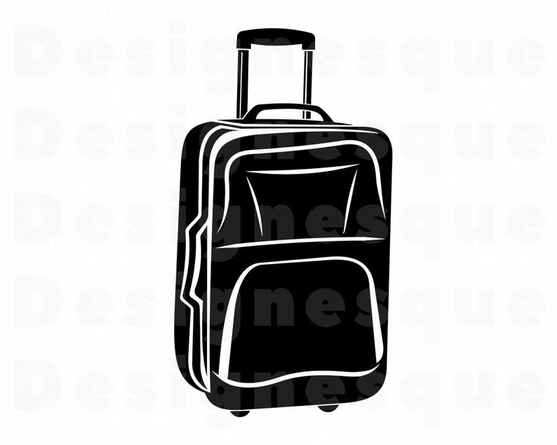 Luggage clipart svg. Suitcase vacation travel files