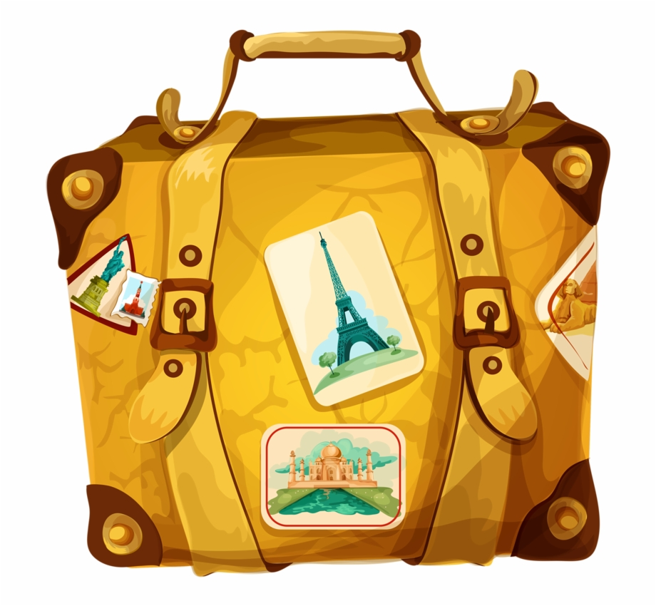 Luggage clipart travel bag. Suitcase trolley poster free