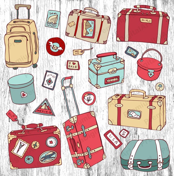 Luggage clipart travel bag.  digital suitcase travelling