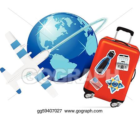 Vector illustration airplane with. Luggage clipart travel globe