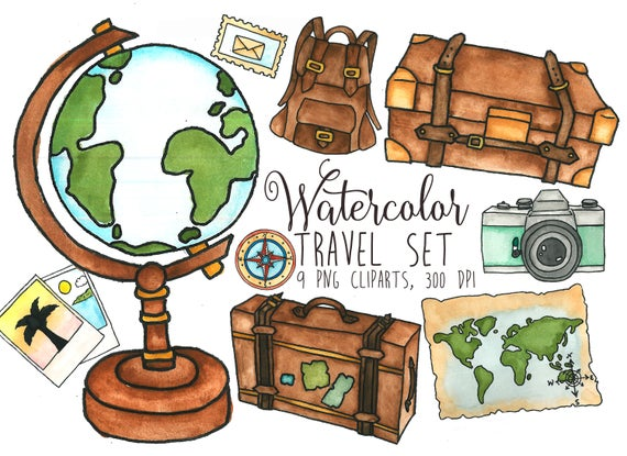 Watercolor traveler s clip. Luggage clipart travel globe