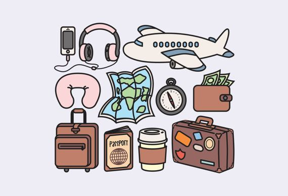 Premium vector kawaii clip. Luggage clipart world travel