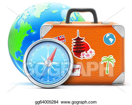Vector art concept drawing. Luggage clipart world travel