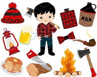 Etsy instant download clip. Lumberjack clipart