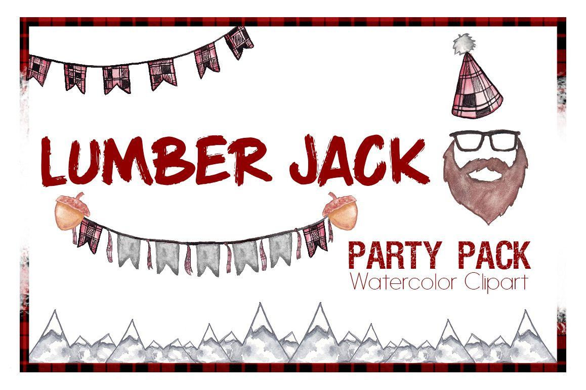 Party bday design bundles. Lumberjack clipart