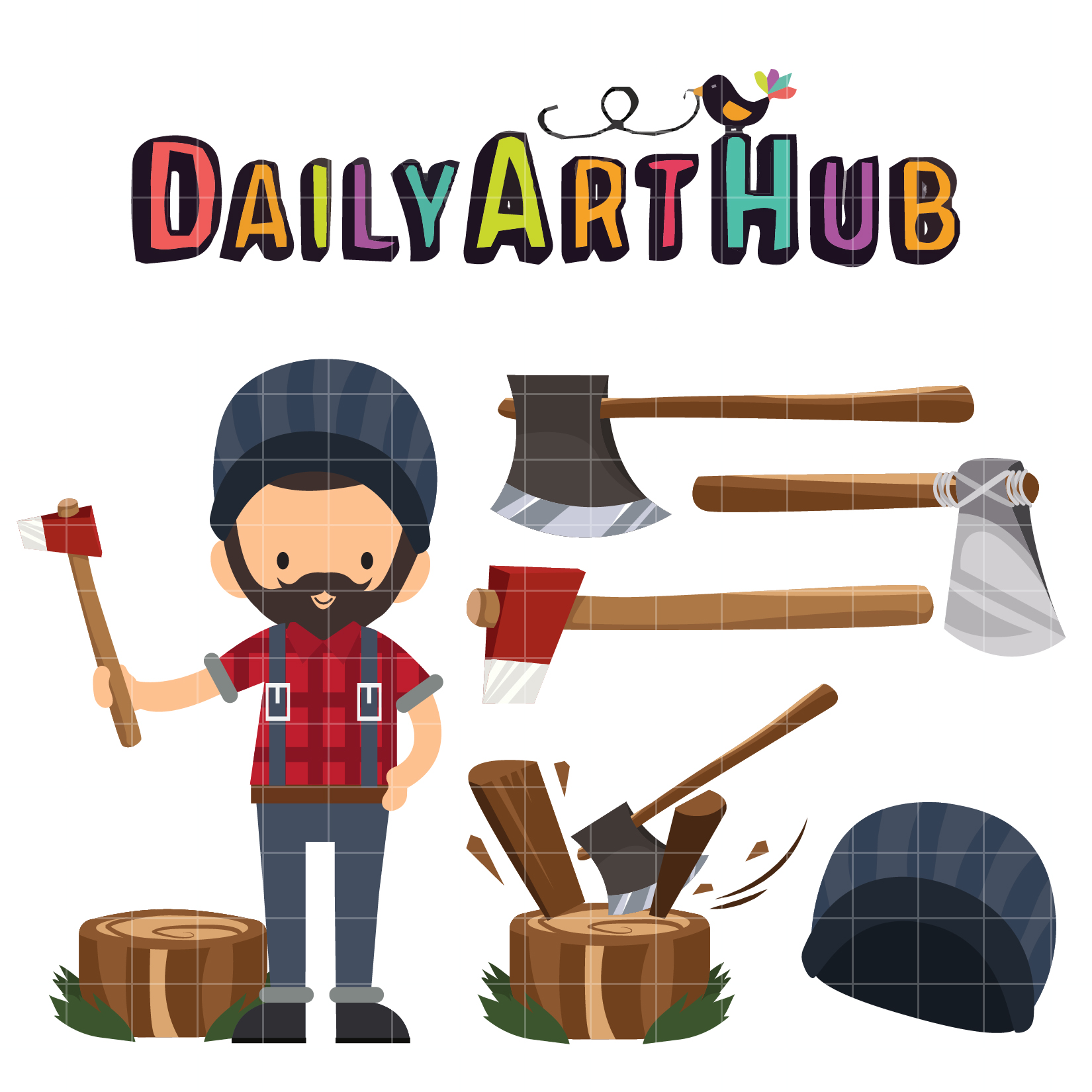 Lumberjack clipart. Clip art set daily