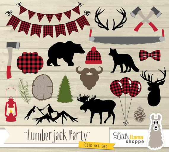 Lumberjack clipart. Party clip art plaid
