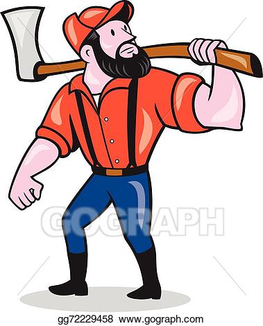 Vector holding axe cartoon. Lumberjack clipart animated