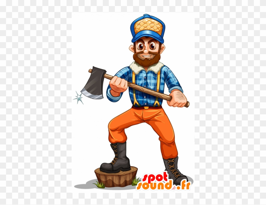 Lumberjack clipart animated. Mascot bearded with a