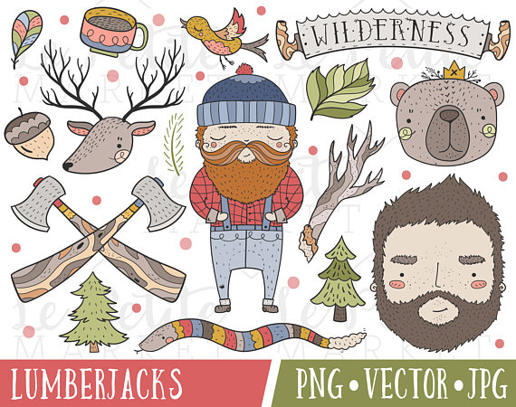 Wilderness set illustrations . Lumberjack clipart clip art