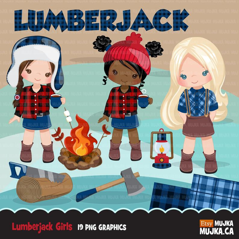 Lumberjack clipart cute. Characters and matching plaid