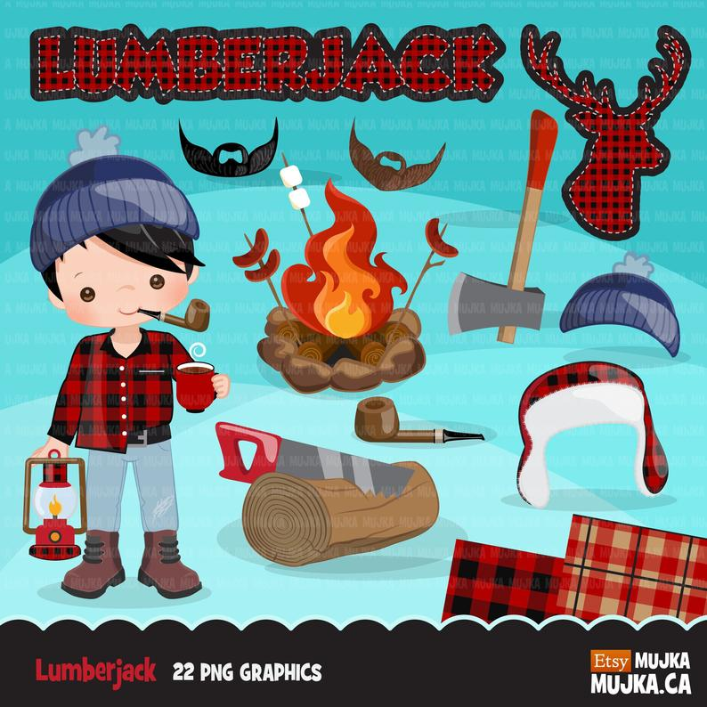 Characters and matching plaid. Lumberjack clipart cute