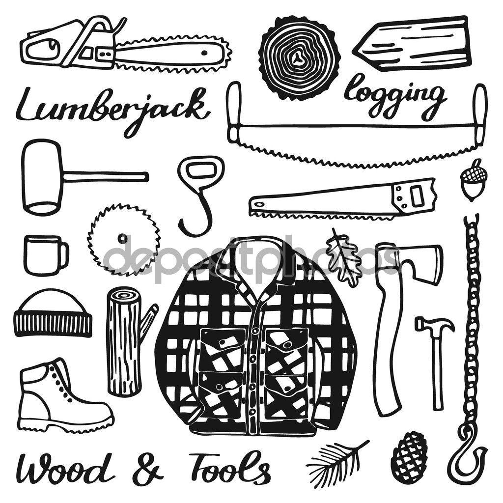 Lumberjack clipart drawing. Set wood and tools