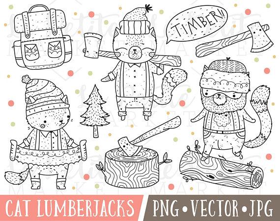 Lumberjack clipart drawing. Cat lumberjacks woodland