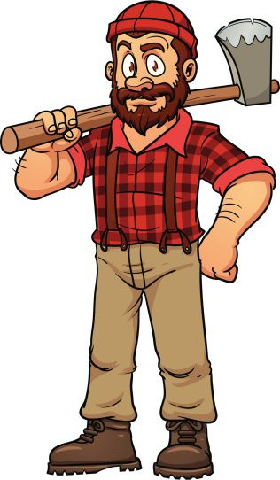 Cartoon holding an axe. Lumberjack clipart drawing