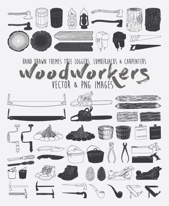 Lumberjack clipart drawing. Hand drawn carpenters camping