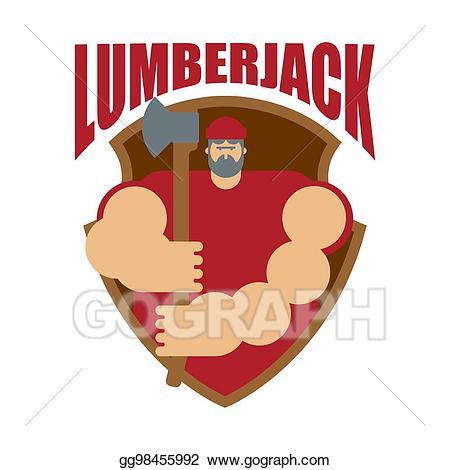 Vector stock woodcutter logo. Lumberjack clipart lumberman