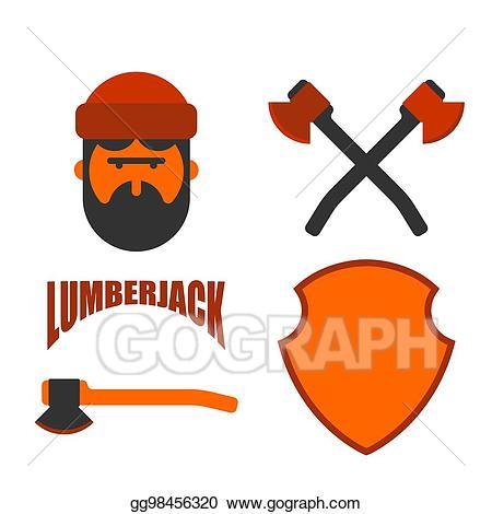Lumberjack clipart lumberman. Eps illustration icon set