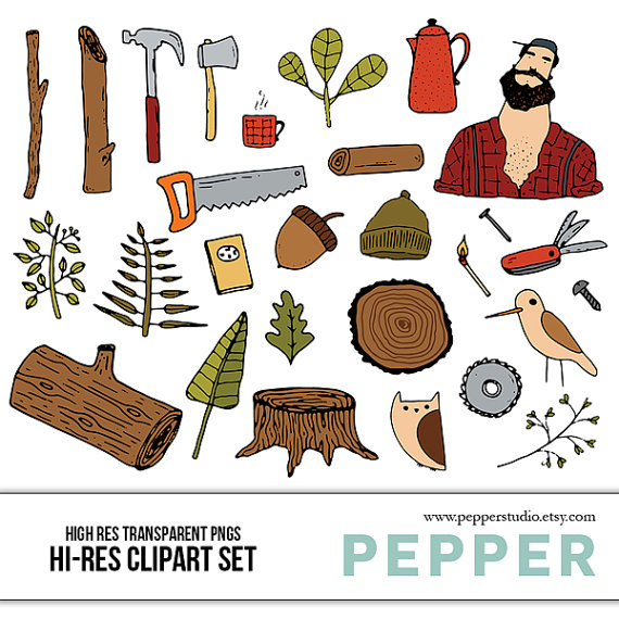 Lumberjack clipart printable. And forest doodle set