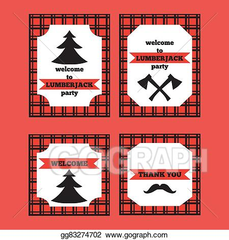 Eps vector set of. Lumberjack clipart printable