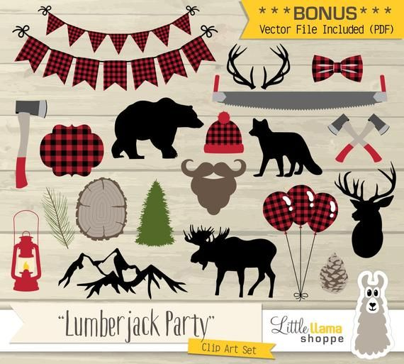 Lumberjack clipart red plaid. Party clip art vector