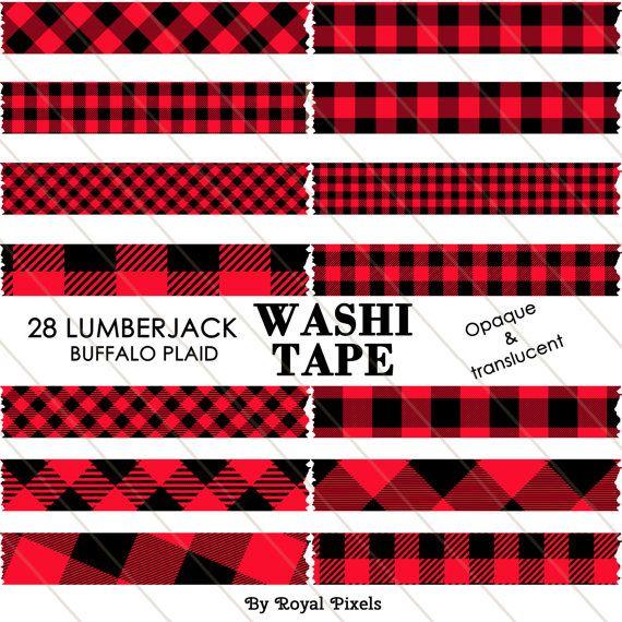 digital washi tape. Lumberjack clipart red plaid
