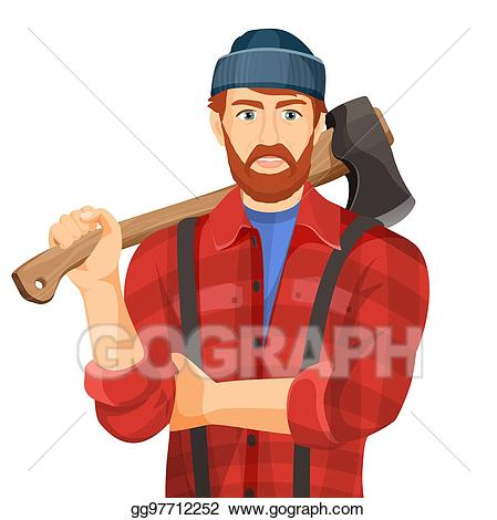 Vector illustration axeman with. Lumberjack clipart wood chopper