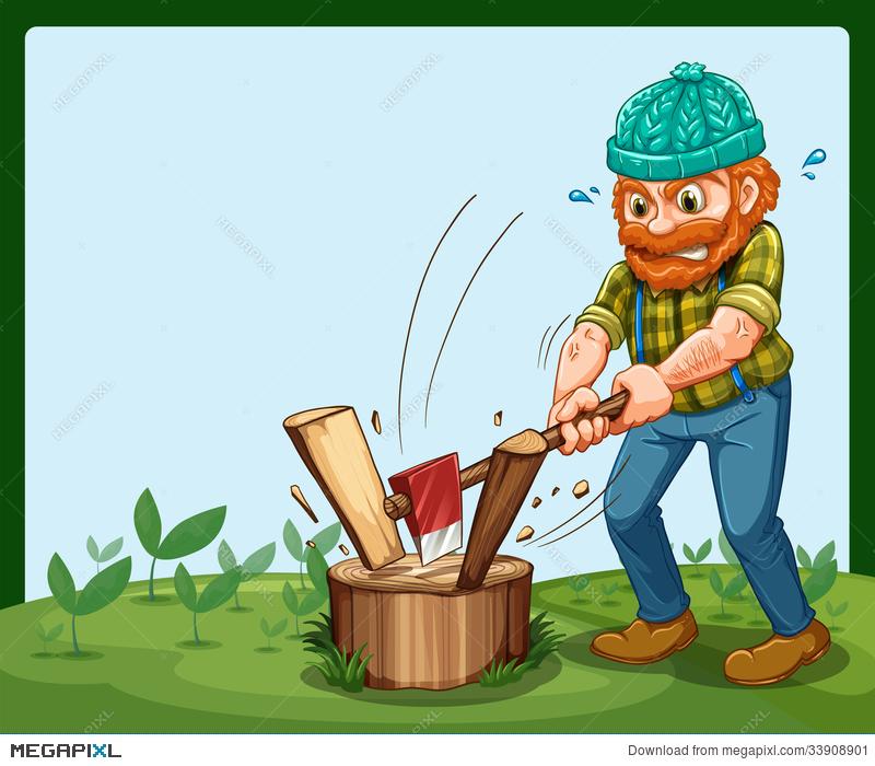 Lumberjack clipart wood chopper. A chopping the illustration
